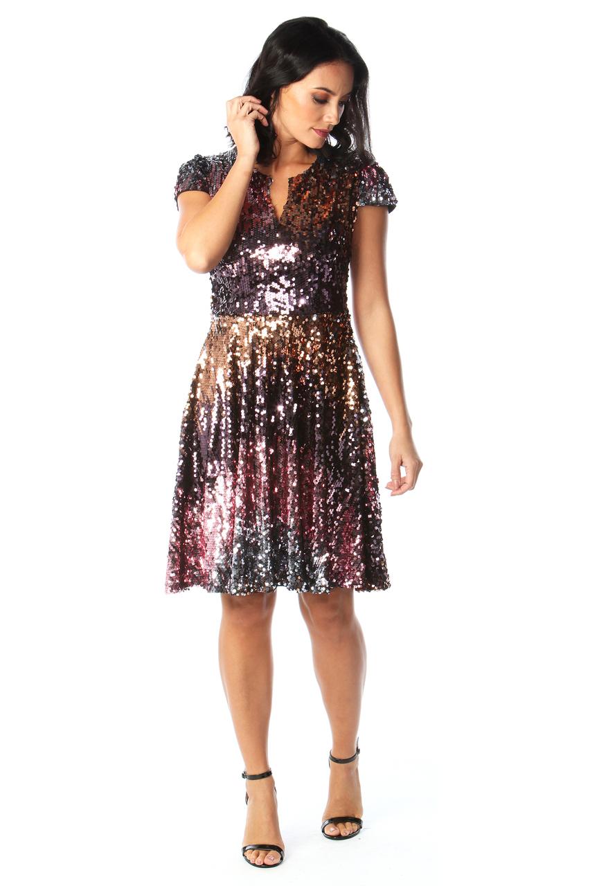 Ruby Sequin V Bar Skater Dress