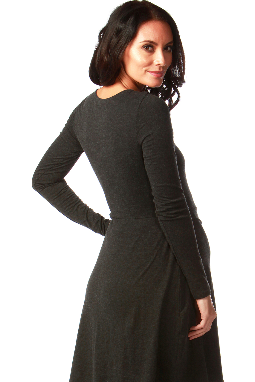 Charcoal Tiffany Maternity Jersey Wrap Dress