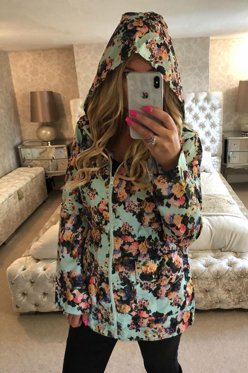 Mint Floral Print Rain Coat