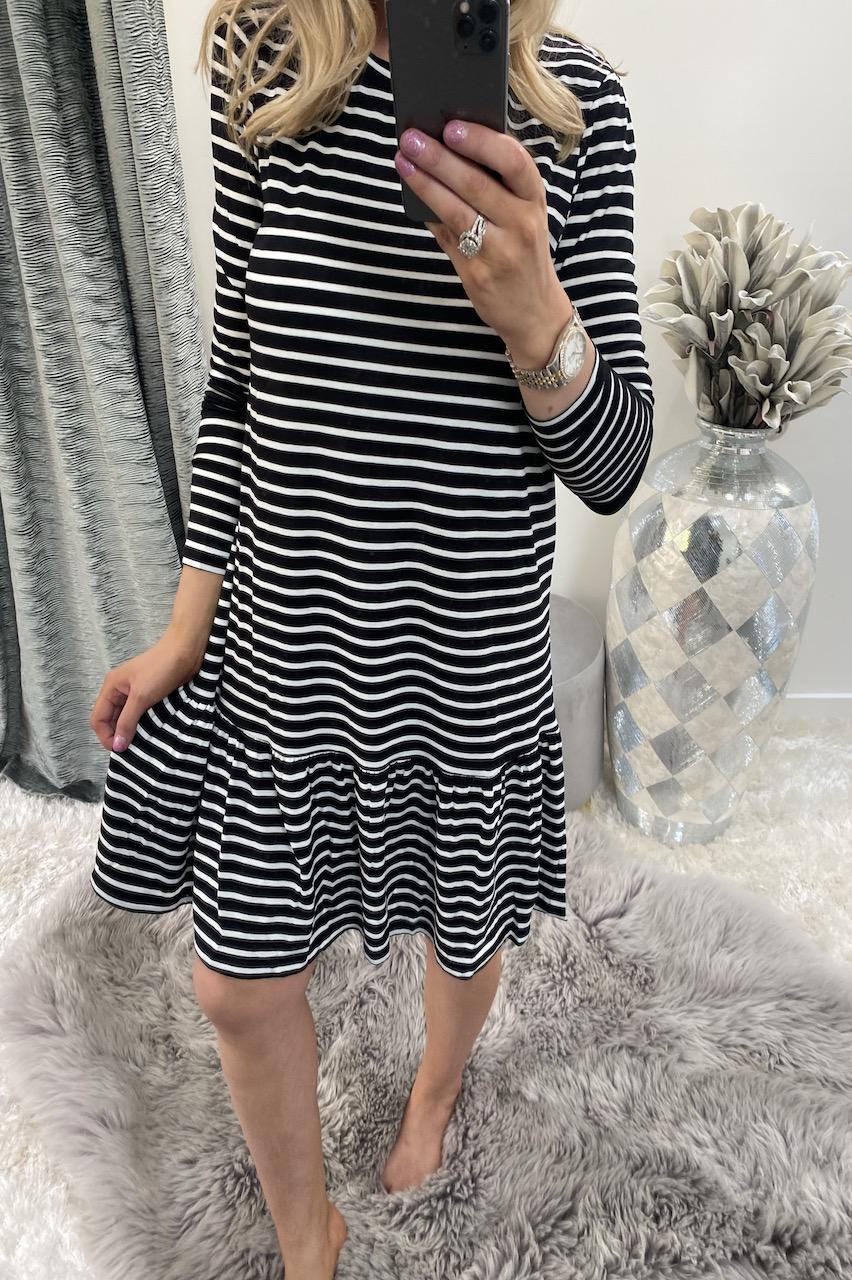 Black & White Stripe Dress with Peplum Hem