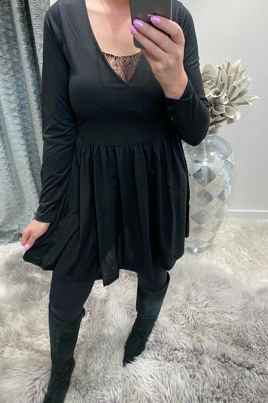 Tammy Black Long Sleeve Skater Dress with Lace Insert