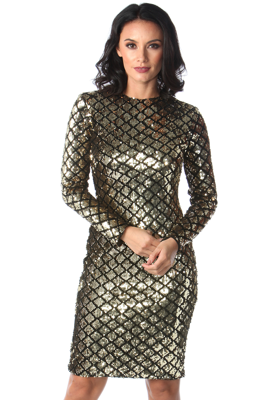Ciara Gold & Black Sequin Midi Dress