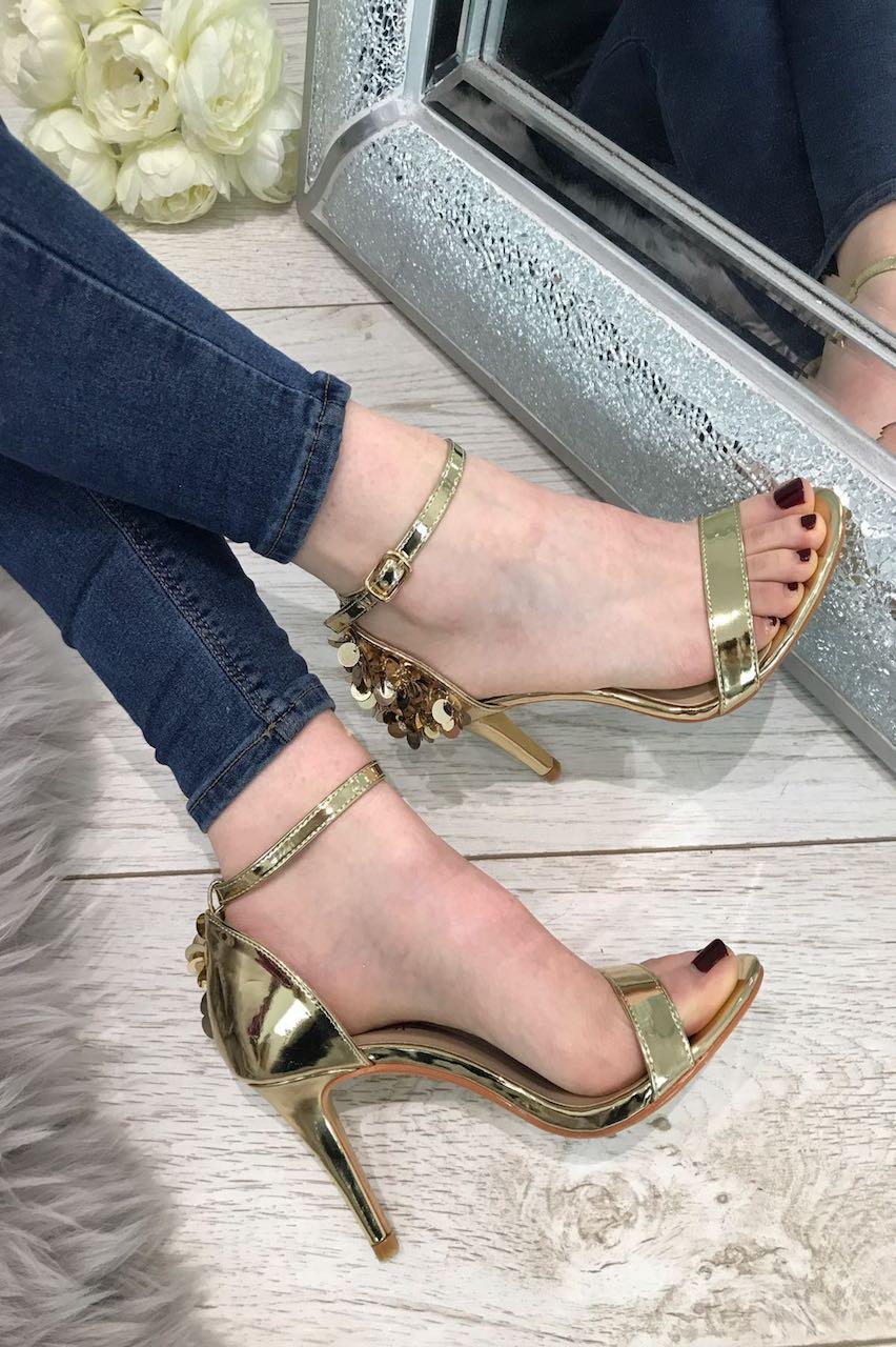 Gold Sequin Strap Heels