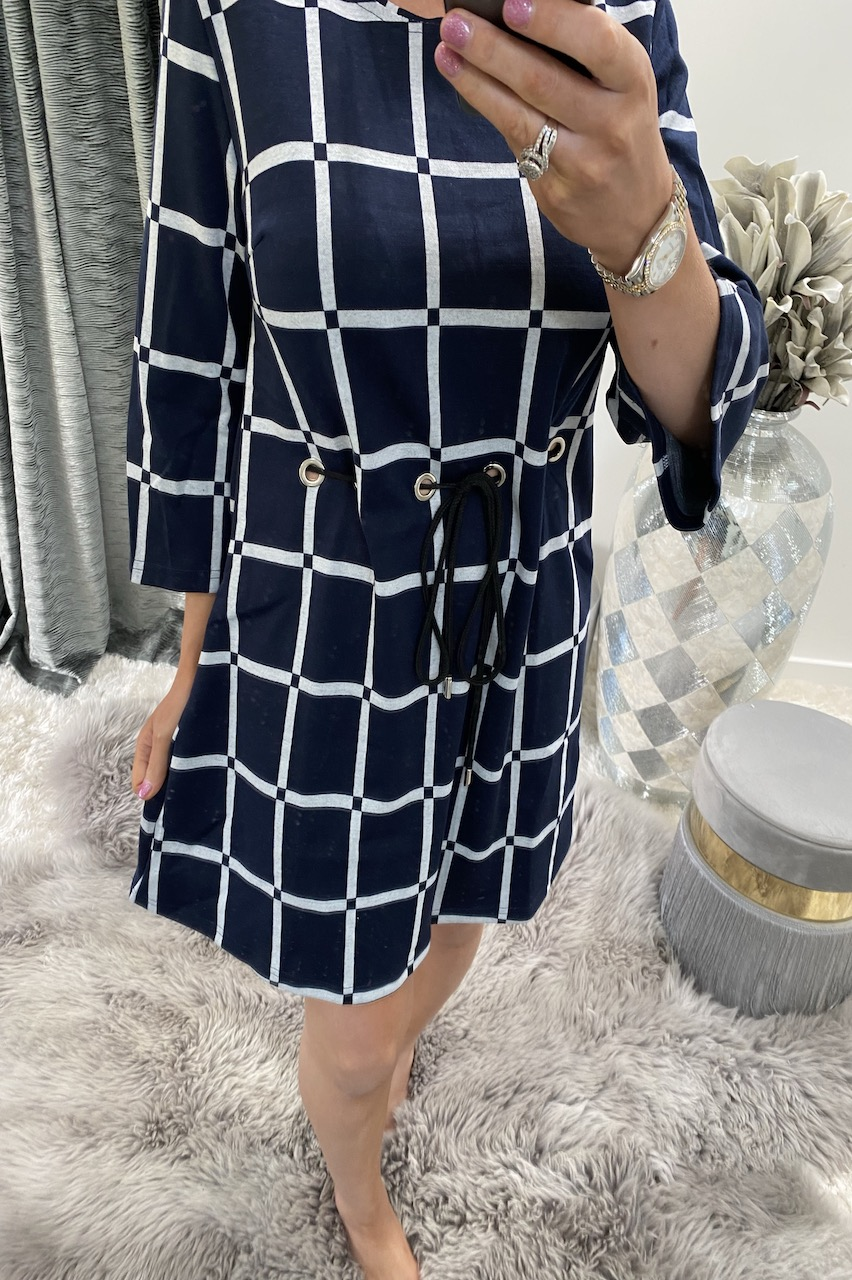 Navy Eve Tie Shift Dress