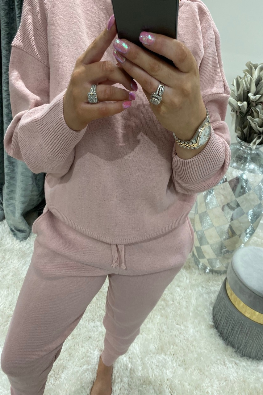 Pink Knitted Lounge Suit
