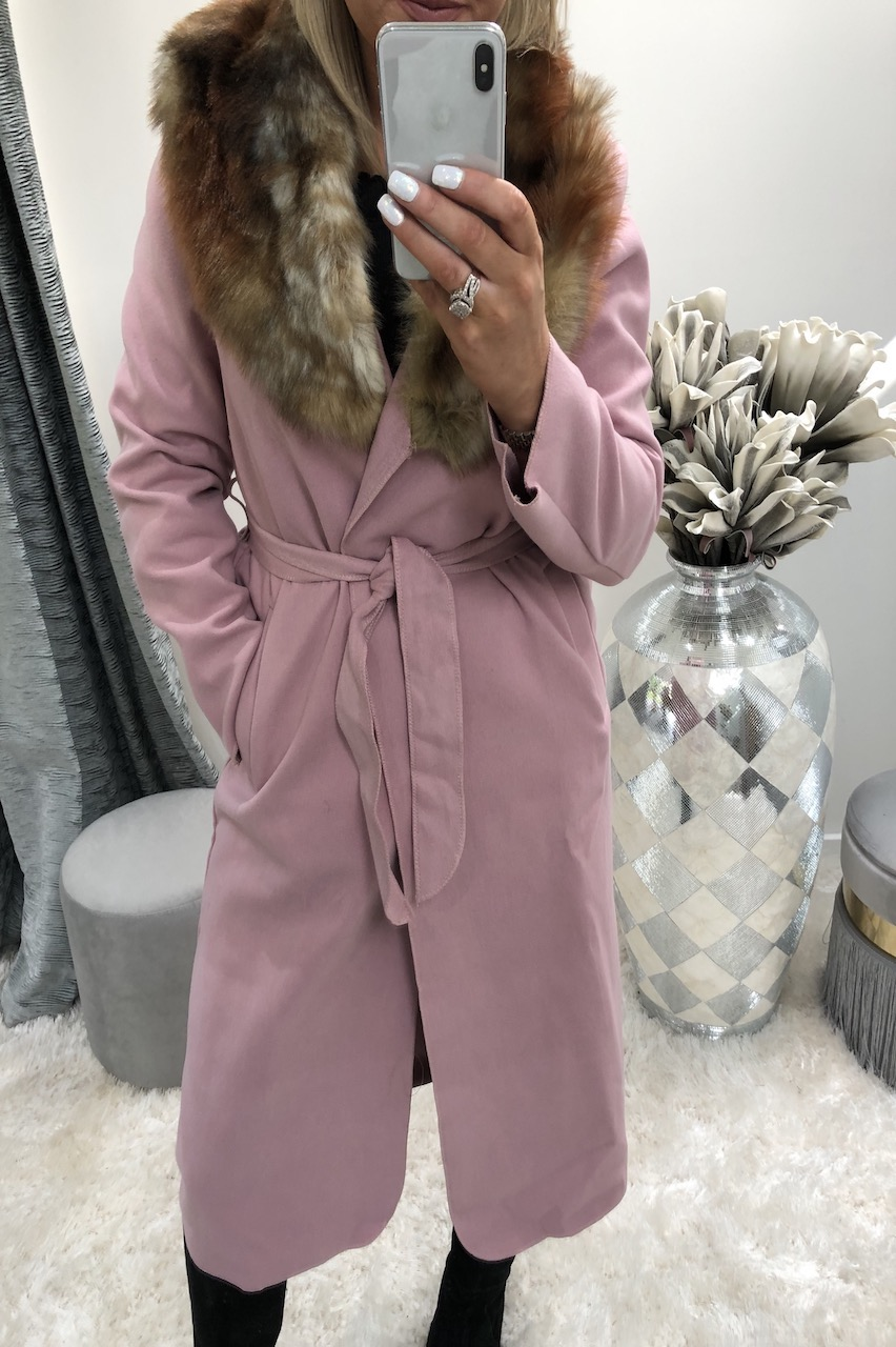 Dusky Pink Faux Fur Trim Coat