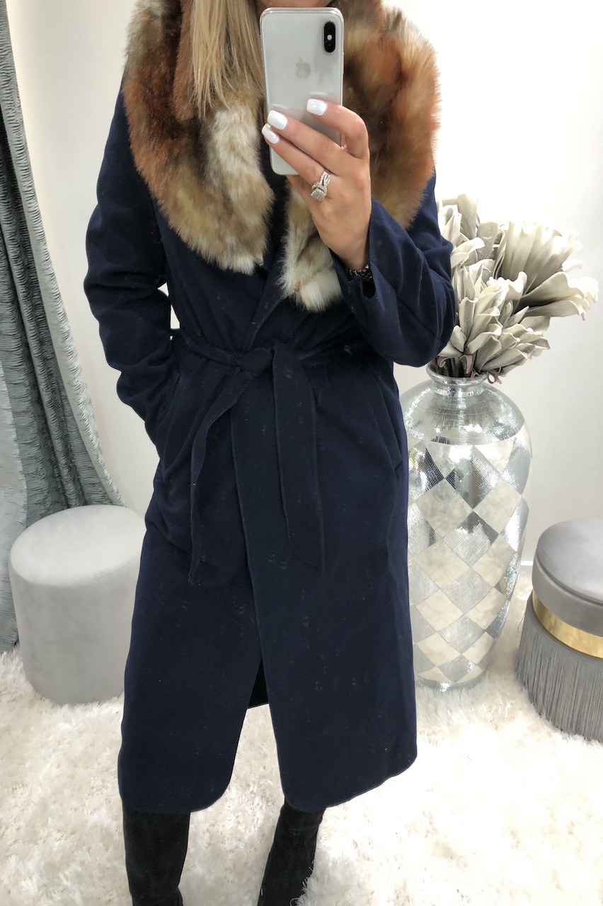 Navy Faux Fur Trim Coat