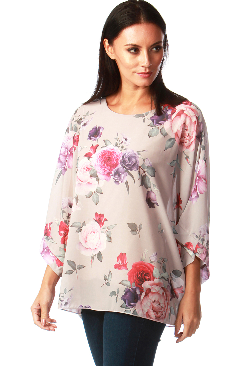 Mocha Mia Rose Chiffon Batwing Top With Camisole
