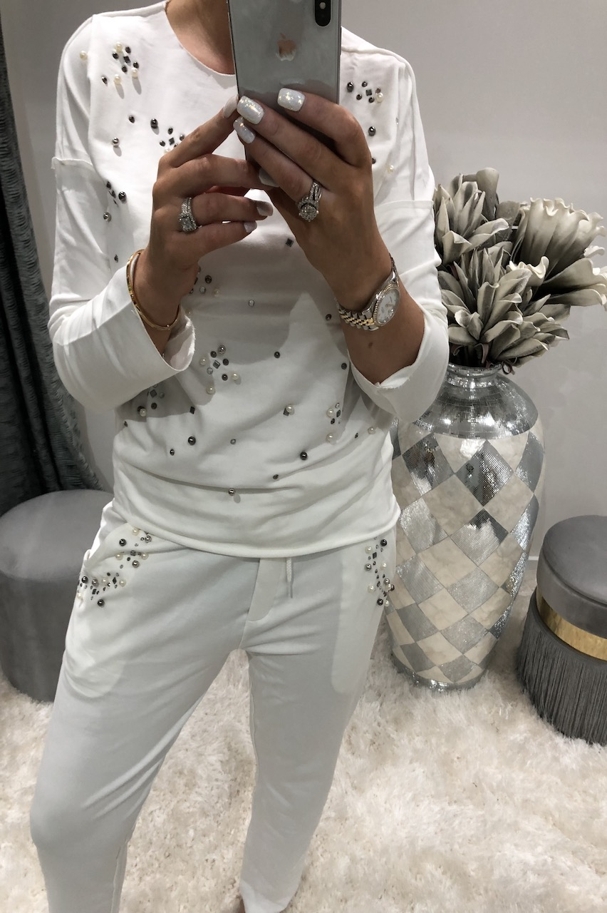 White Rene Pearl Detailed Lounge Suit