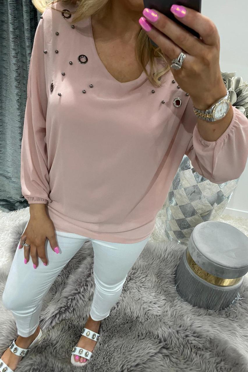 Dusky Pink Eyelet Layer Chiffon Top