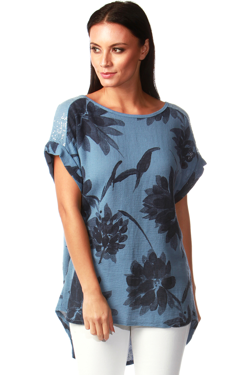 Felicity Denim Blue Floral Chiffon Top with Sequin