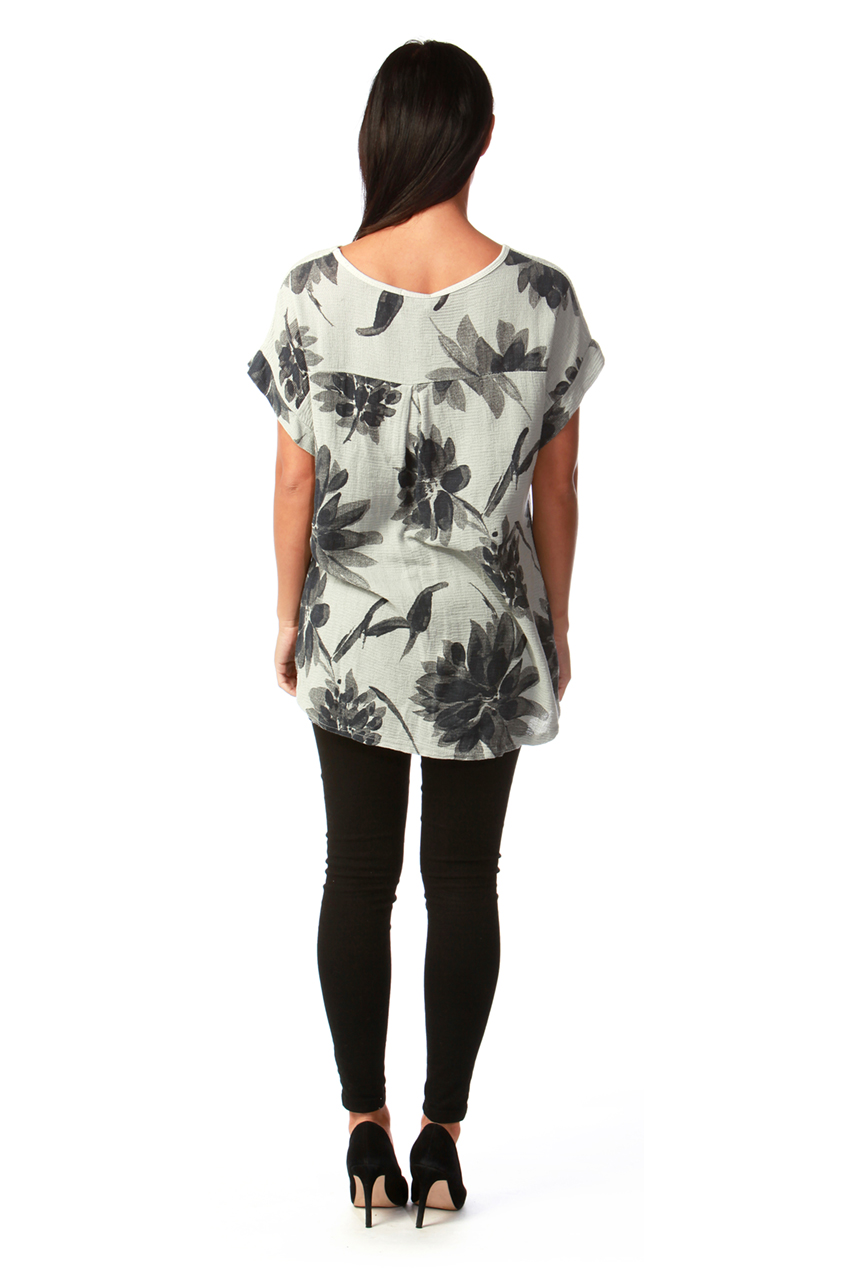 Felicity Grey Floral Chiffon Top with Sequin