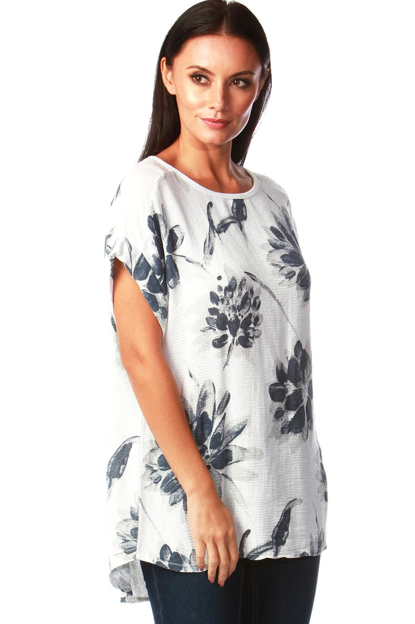 Felicity White Floral Chiffon Top with Sequin
