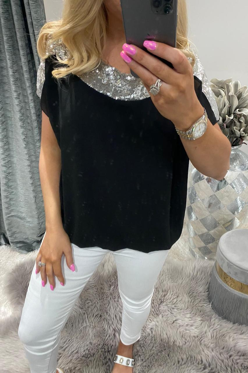 Black Sequin Chiffon Top