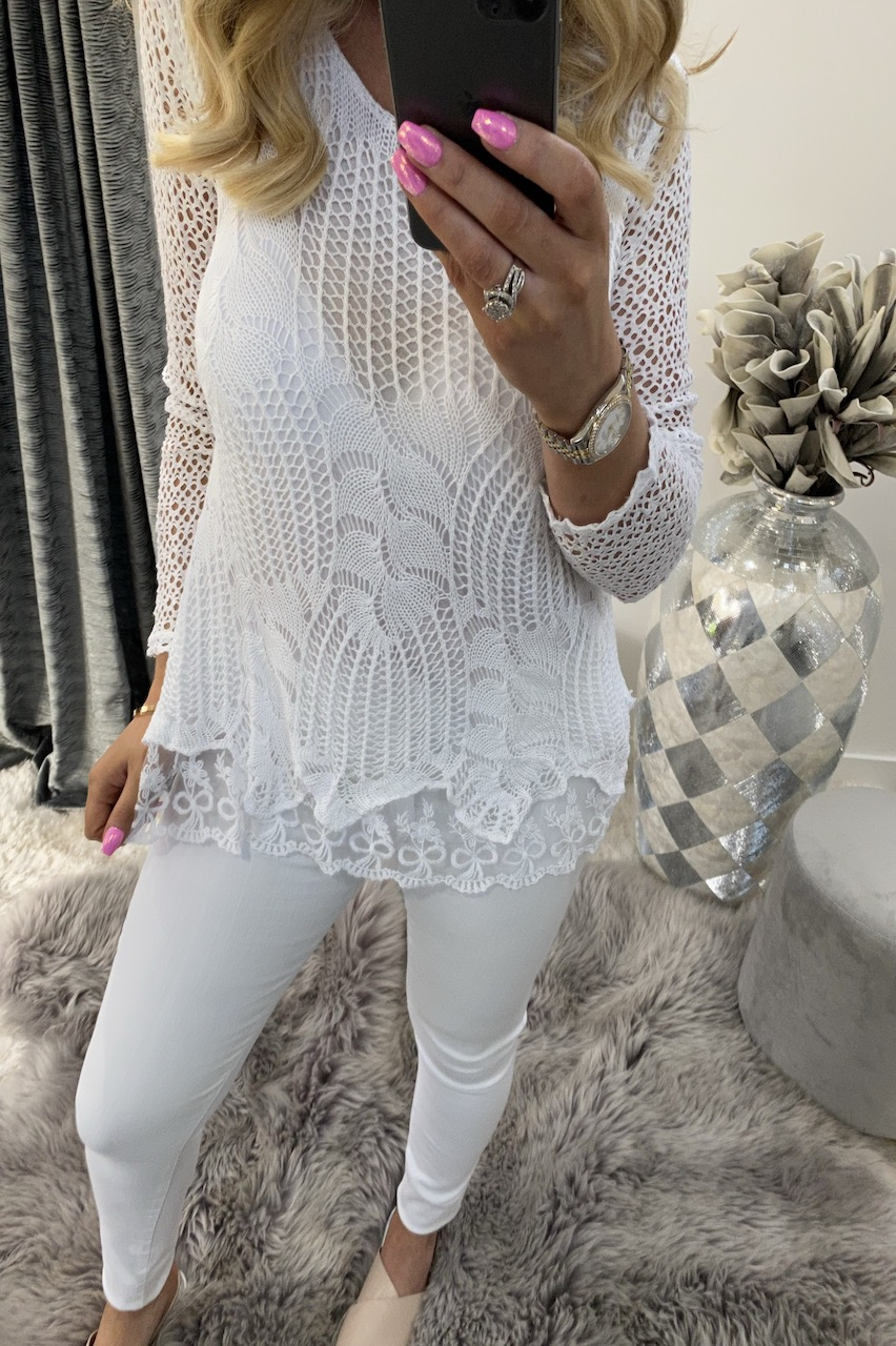 Natalie White Crochet Top