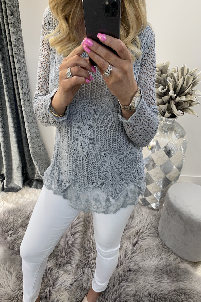Natalie Grey Crochet Top
