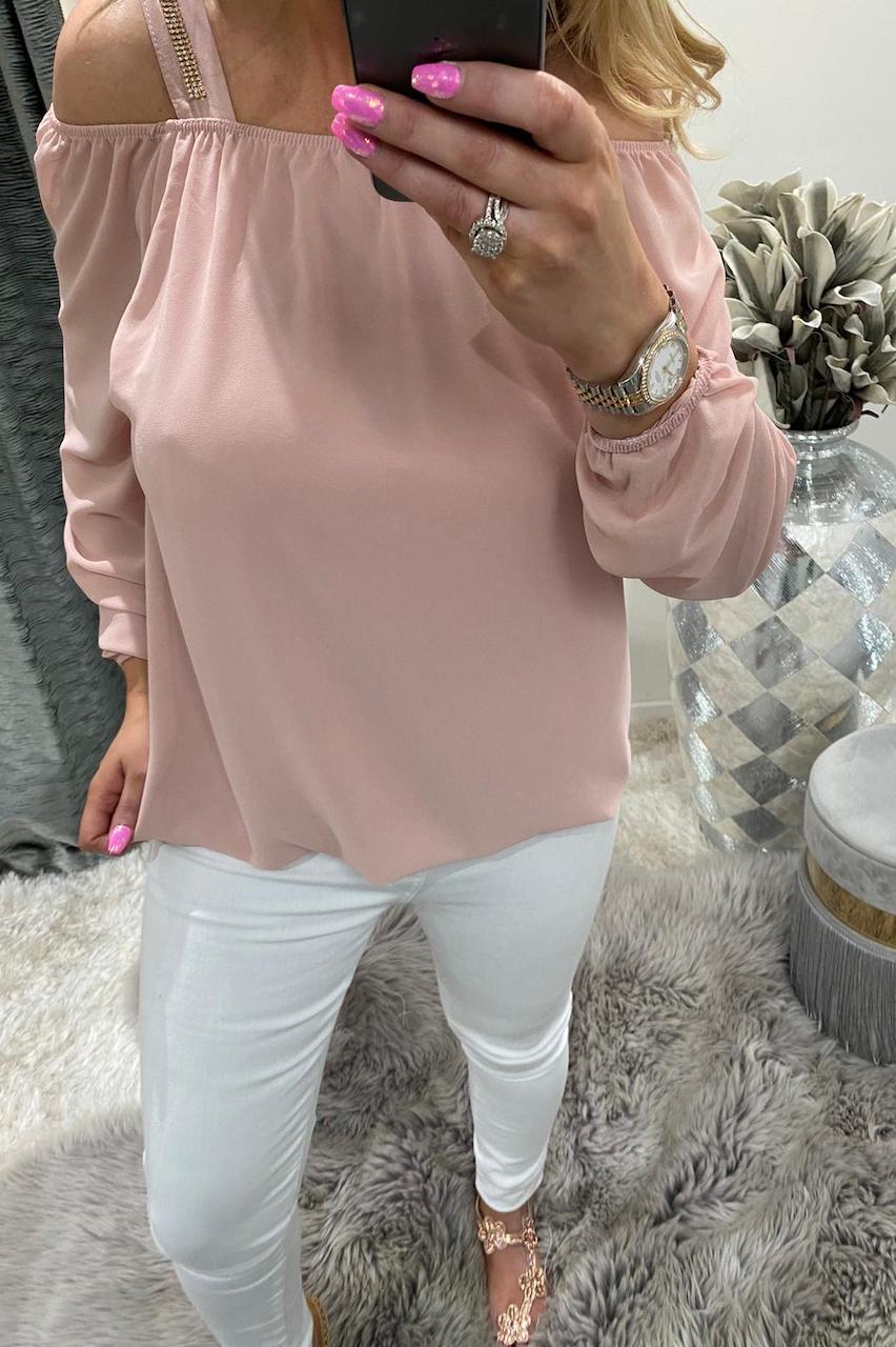 Dusky Pink Chiffon Top with Diamond Straps