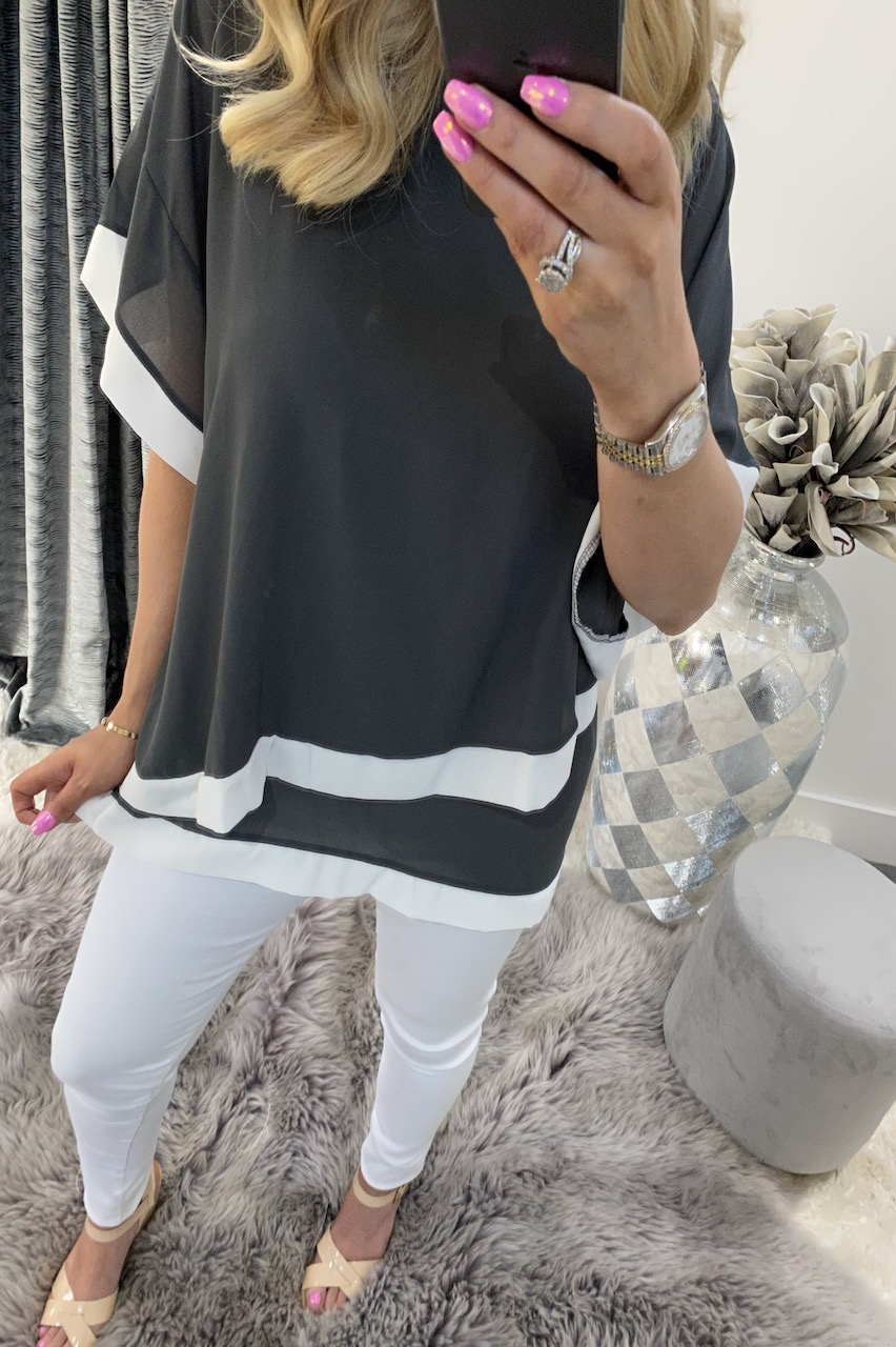 Naya Grey and White Overlay Chiffon Top