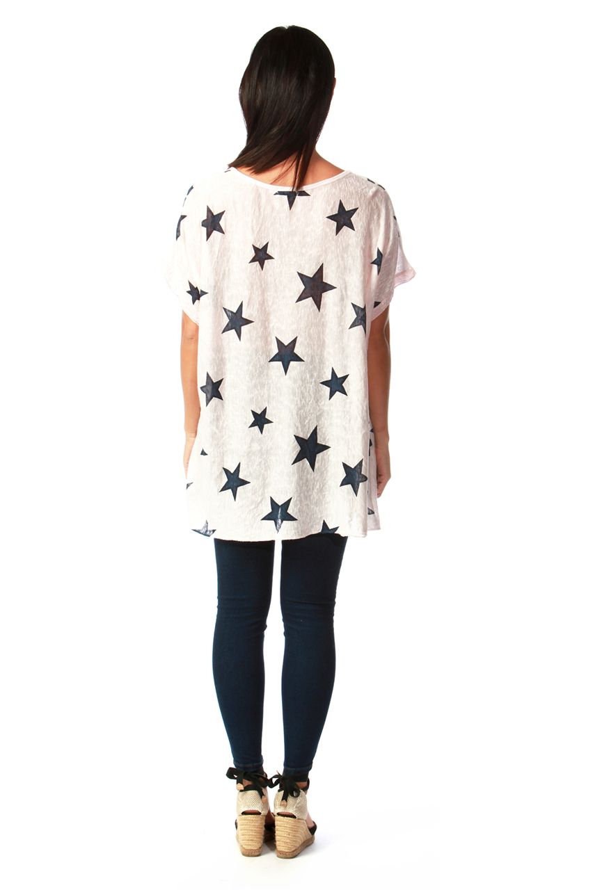Pink Star Top with a Scarf