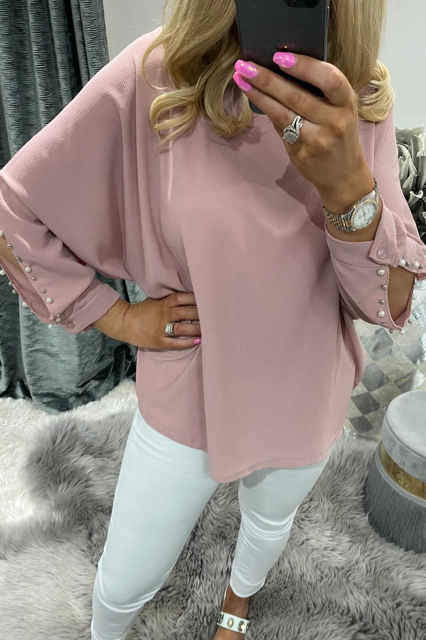 Helen Dusky Pink Beaded Chiffon Top with a Cut Out Sleeve