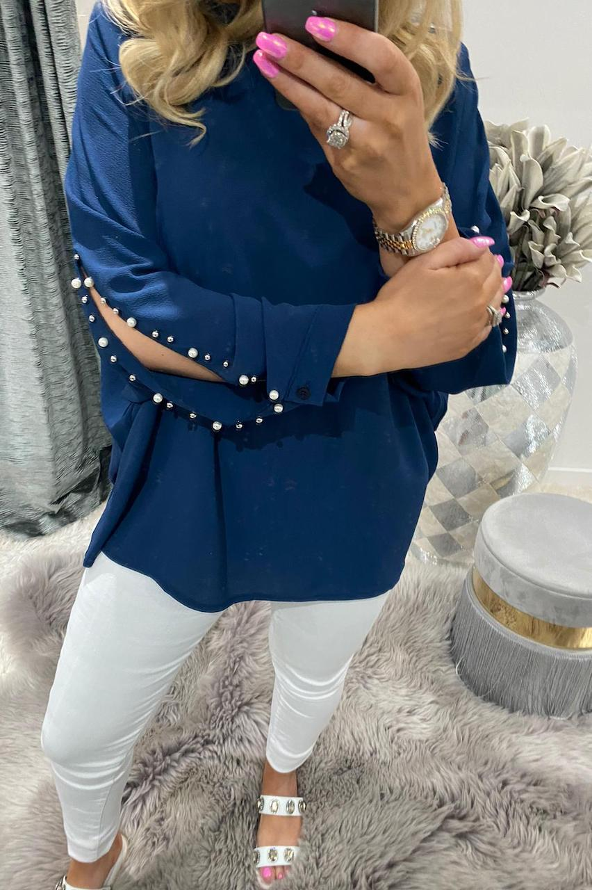 Helen Navy Beaded Chiffon Top with a Cut Out Sleeve