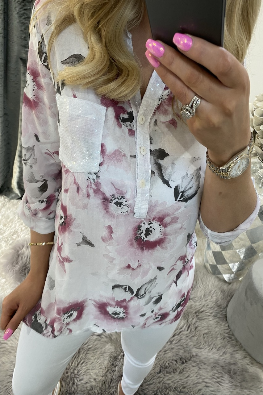 Dennise White Floral Shirt Top