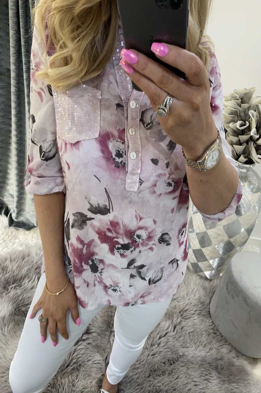 Dennise Pink Floral Shirt Top