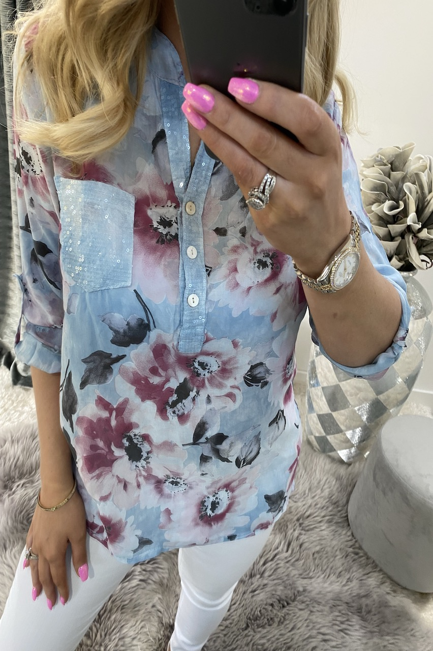Dennise Blue Floral Shirt Top