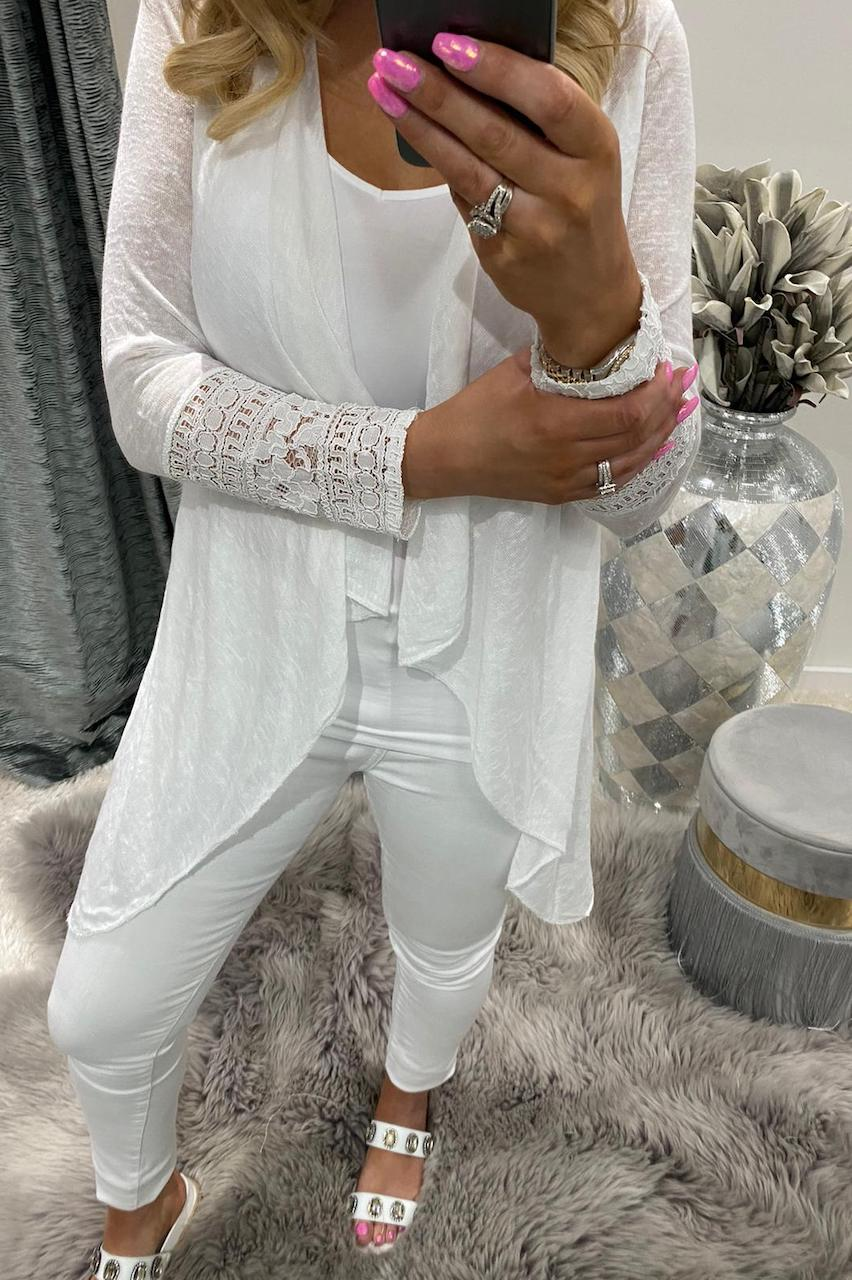 Roxy White Cardigan with Lace Detail