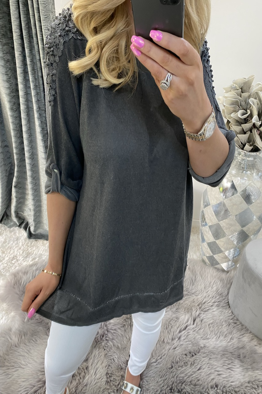 Alexis Dark Grey Top with Fold Up Sleeves