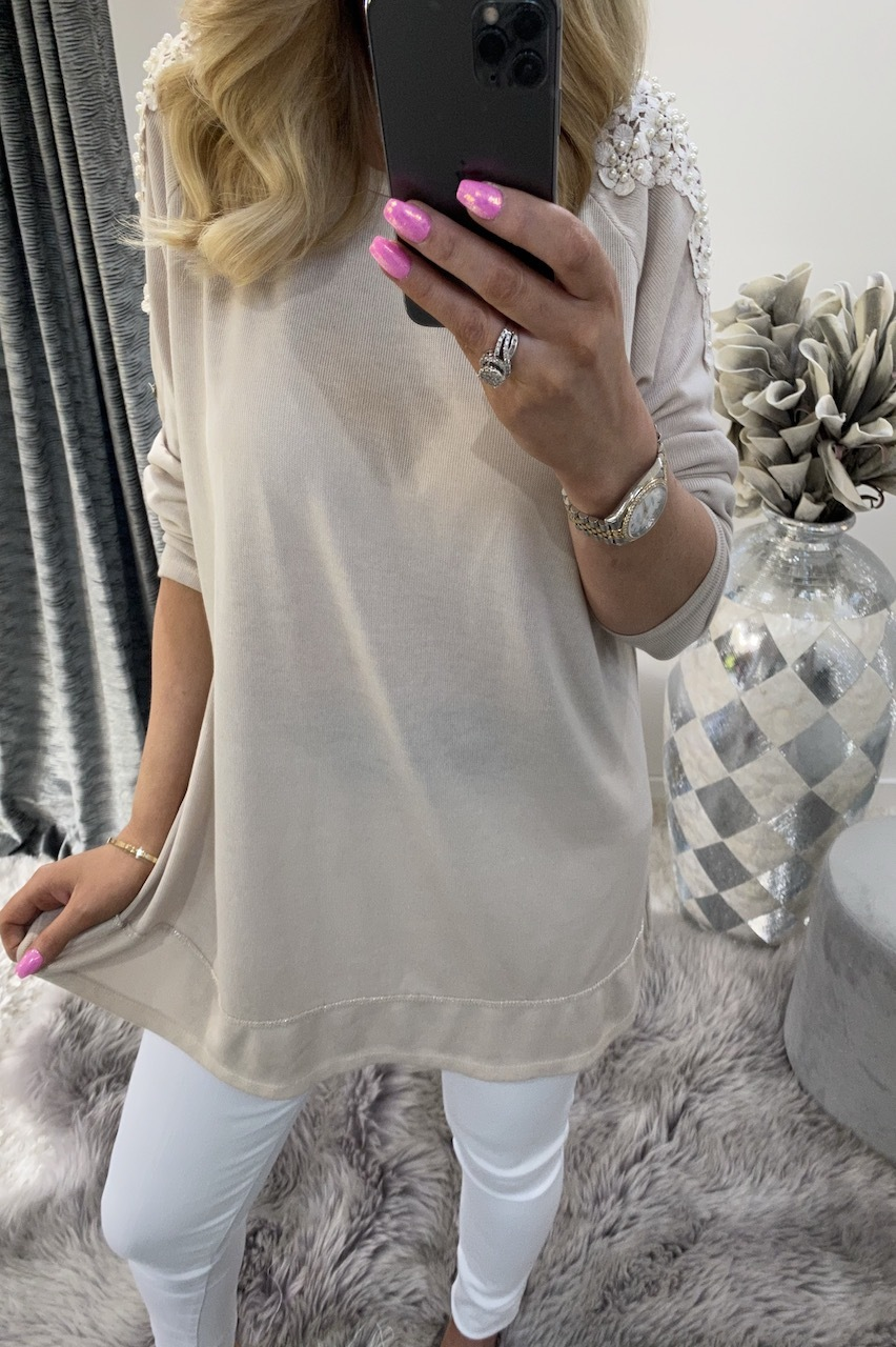 Alexis Stone Top with Fold Up Sleeves