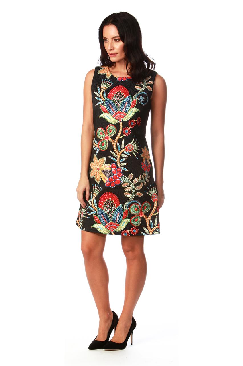 Black Floral Fusion Shift Dress