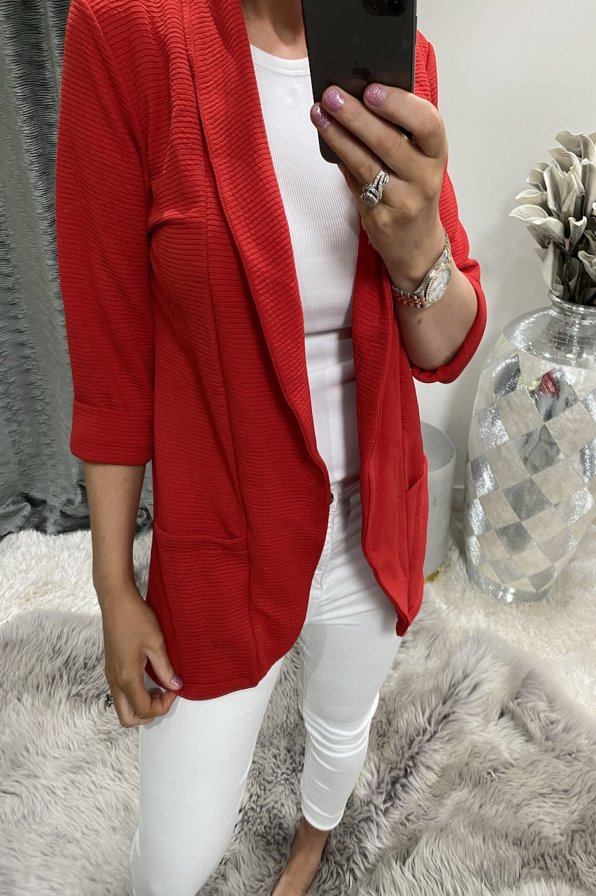 Red Ribbed Blazer Jacket