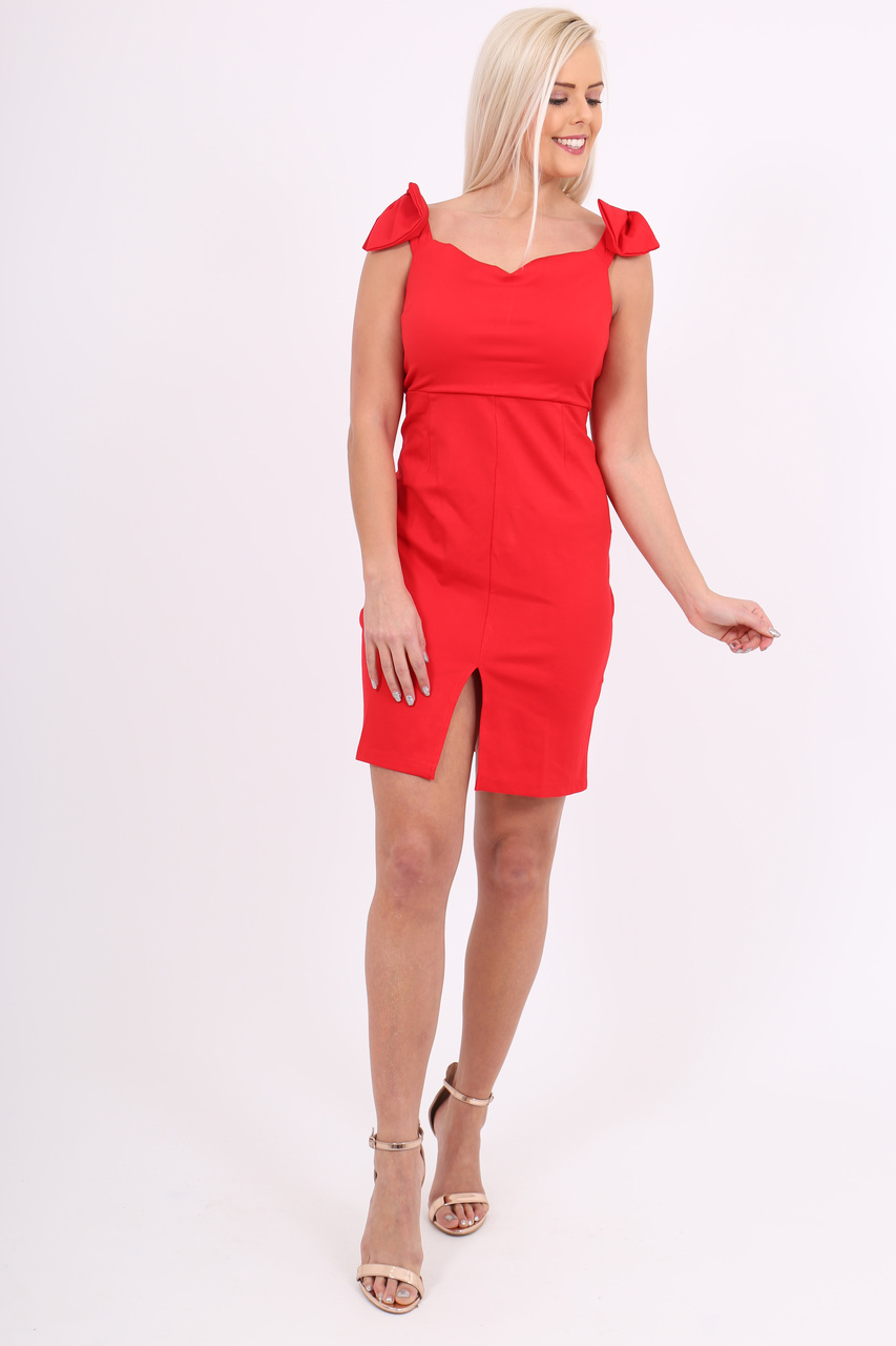 Red Shoulder Bow Bodycon
