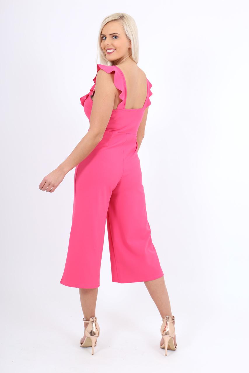Pink Crepe Frill Culotte Jumpsuit