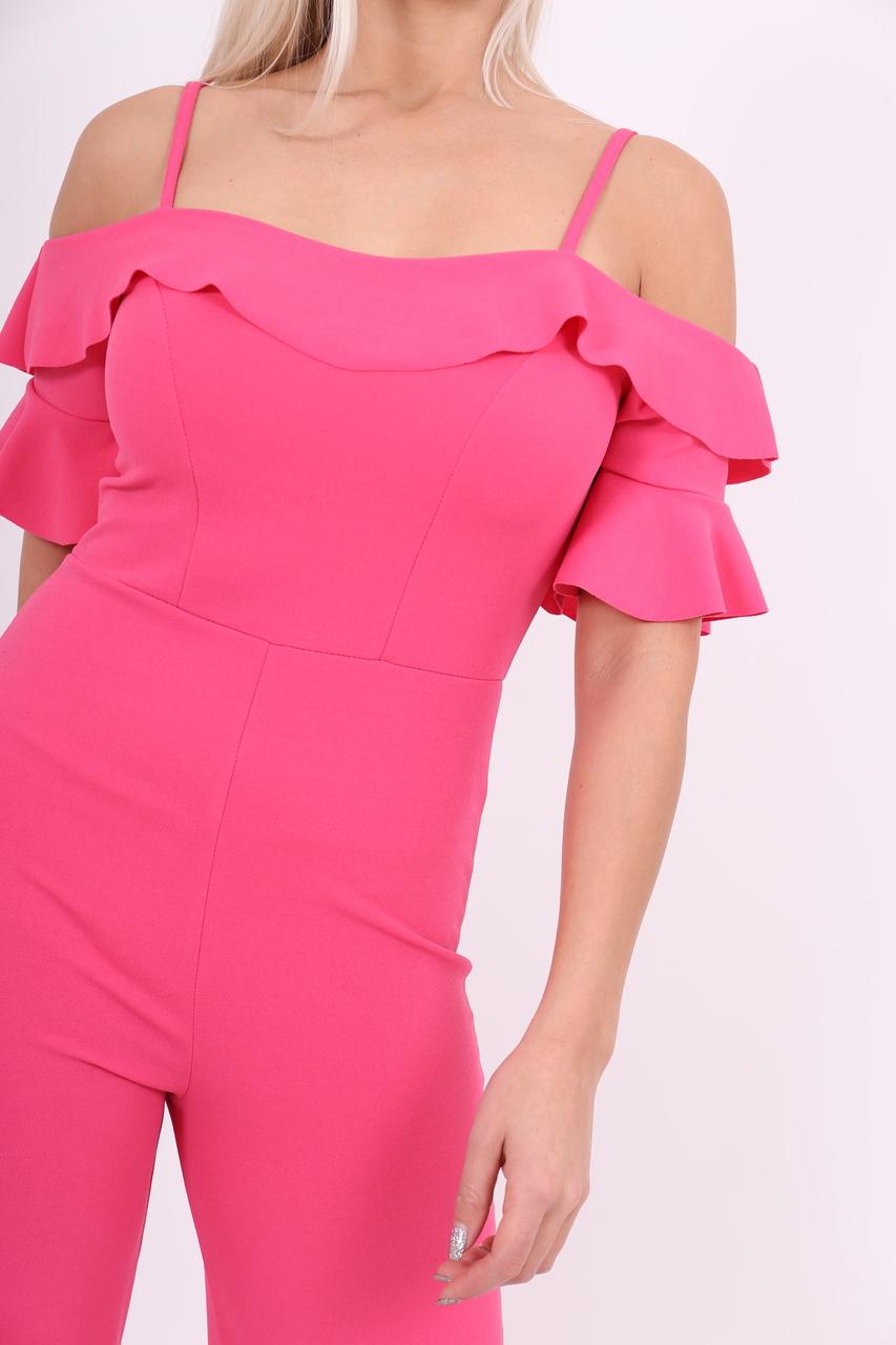 Pink Bardot Frill Wide Leg Jumpsuit
