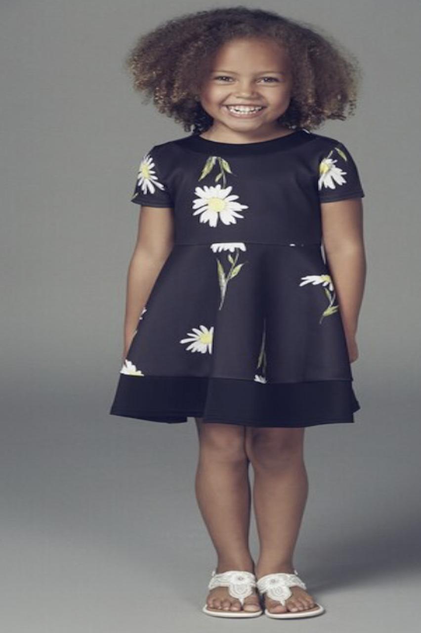 Children's Black Daisy Skater Dress