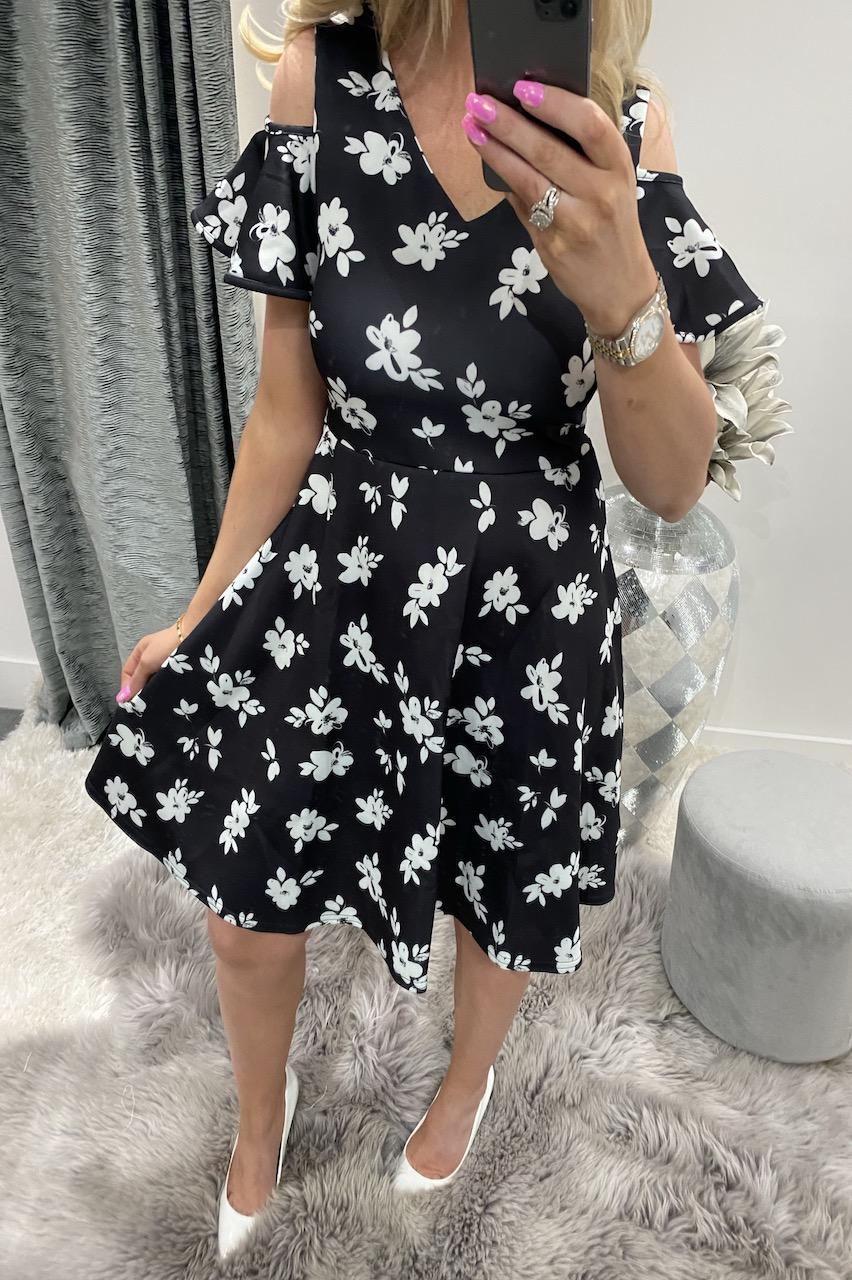 Senya Black Floral Skater Dress