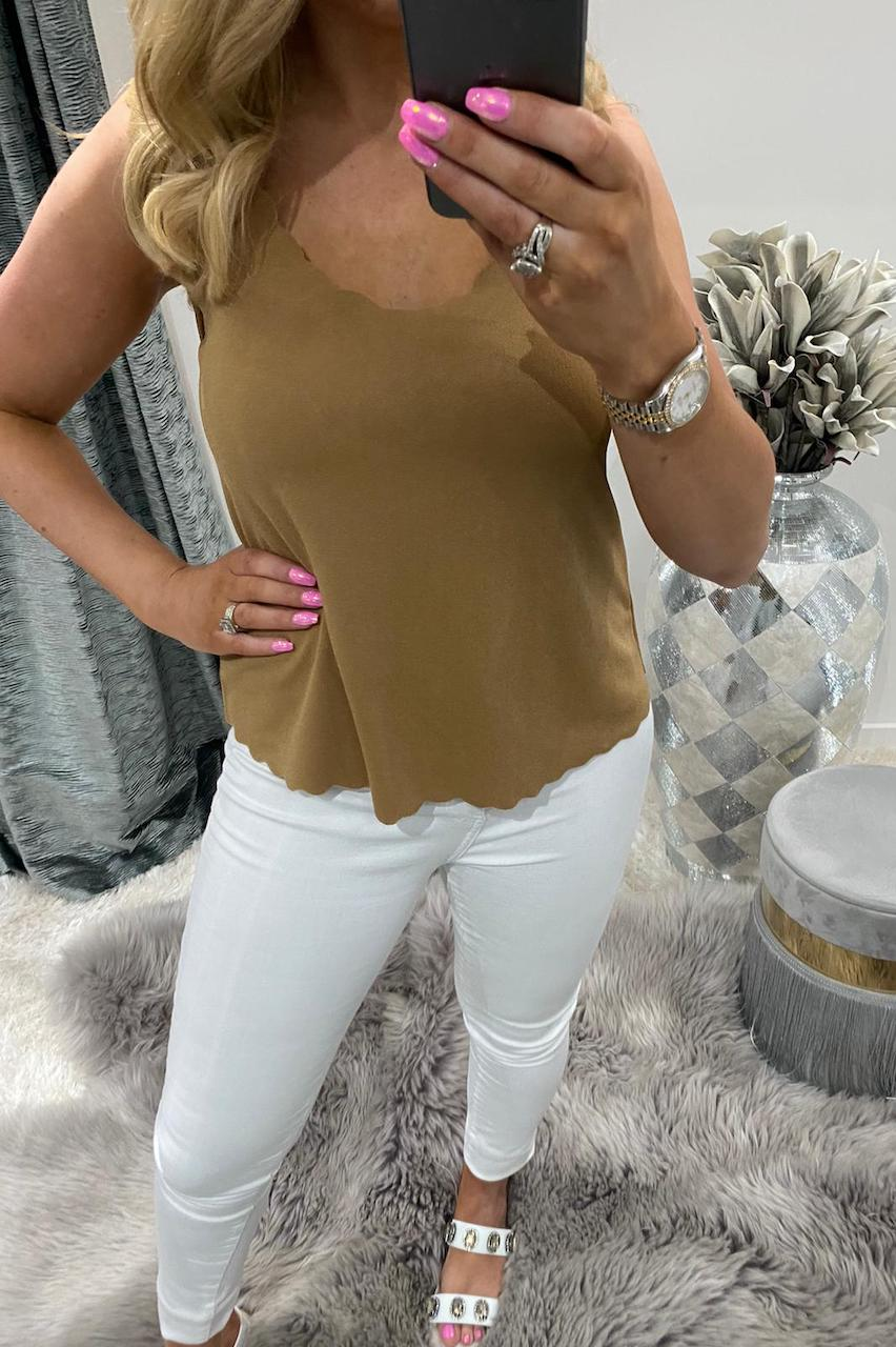 Camel Scallop Top