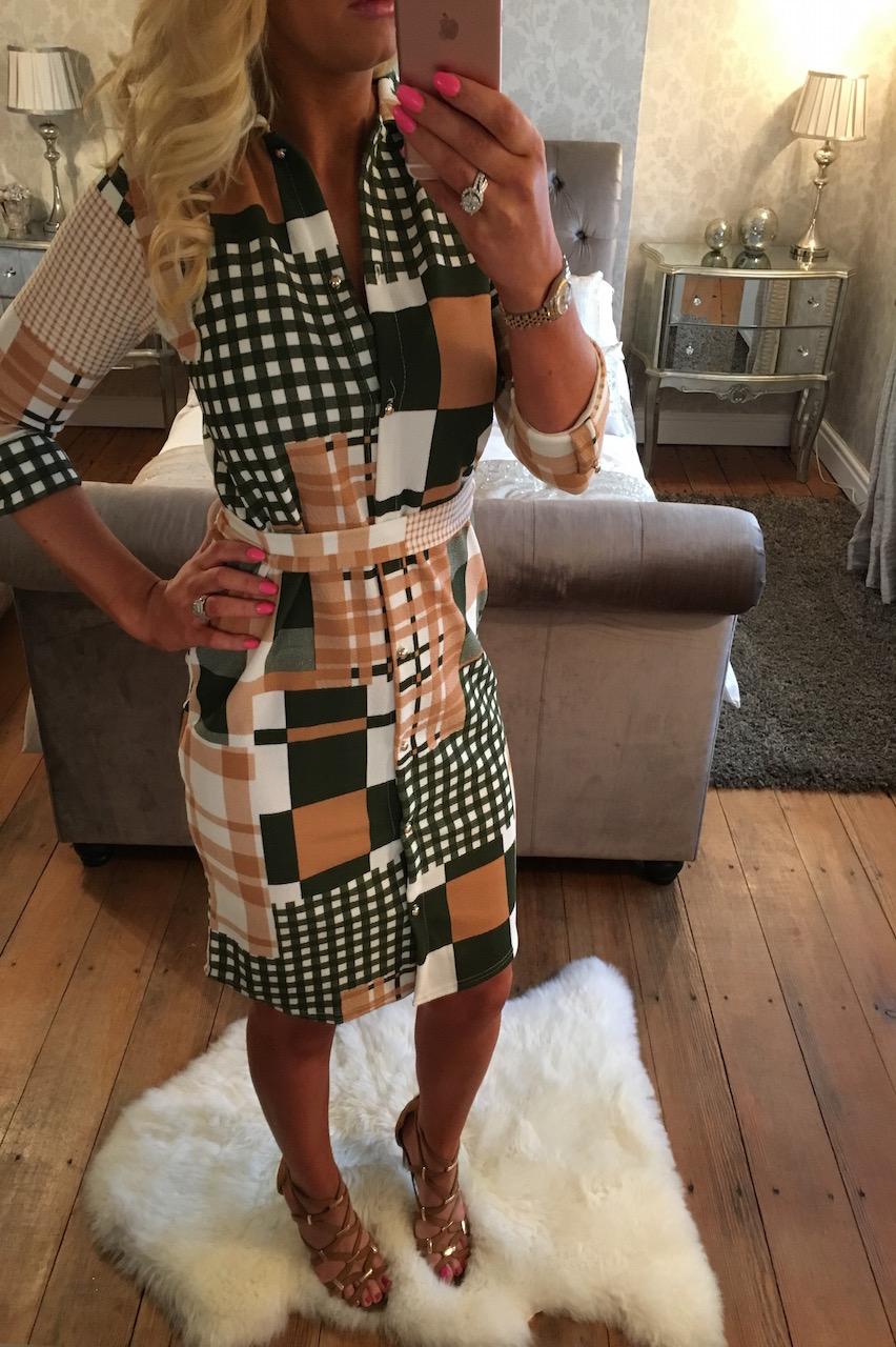 Beige Patchwork Belted Shirt Dress
