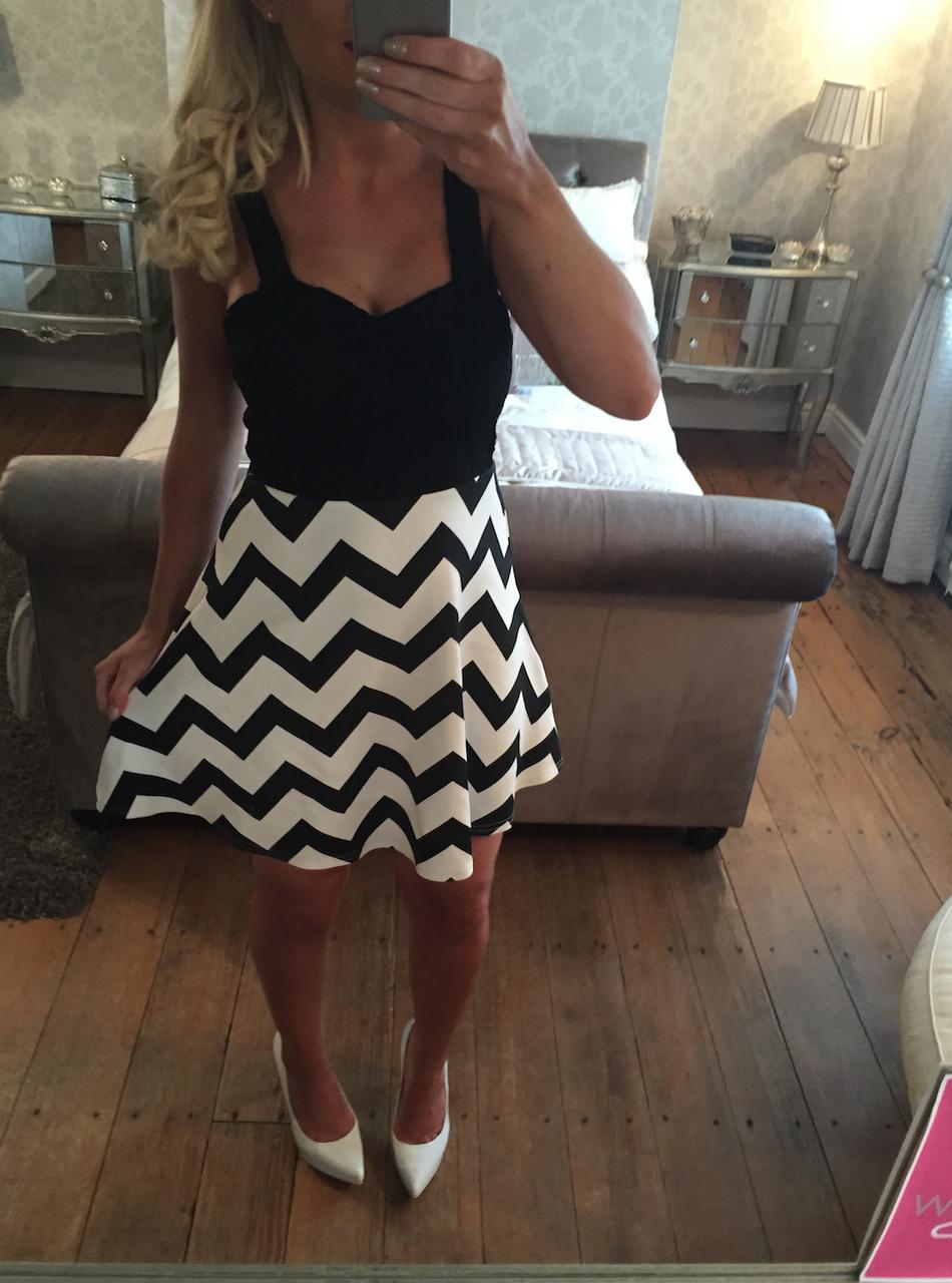 Strata Black Lace Skater Dress