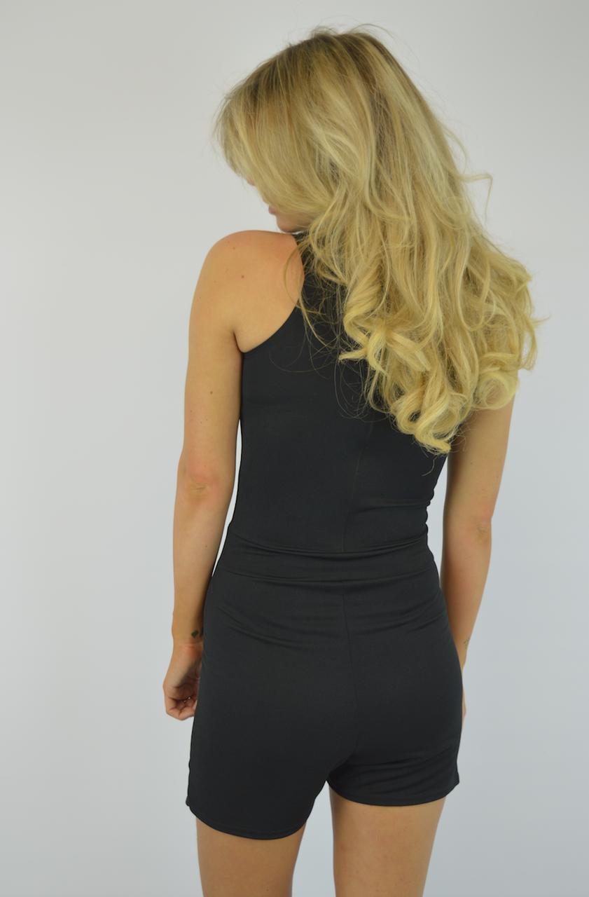 Palomina Black Zip Skortsuit