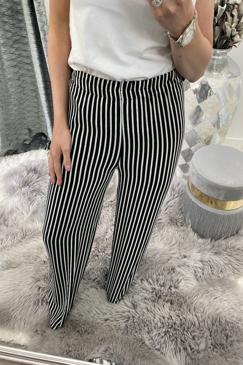 Black Stripe Elasticated Waist Trousers