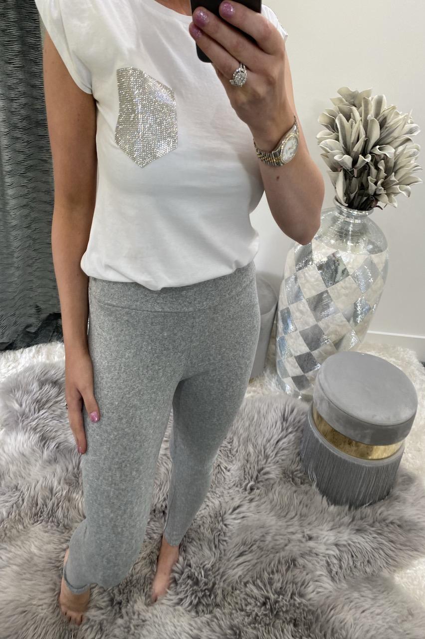 Grey Cotton High Waisted Leggings