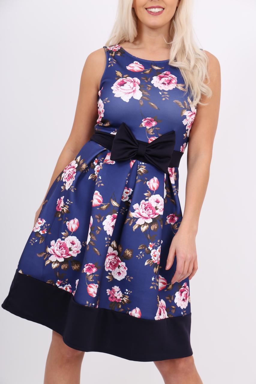 Navy Aronia Black Bow Floral Skater Dress