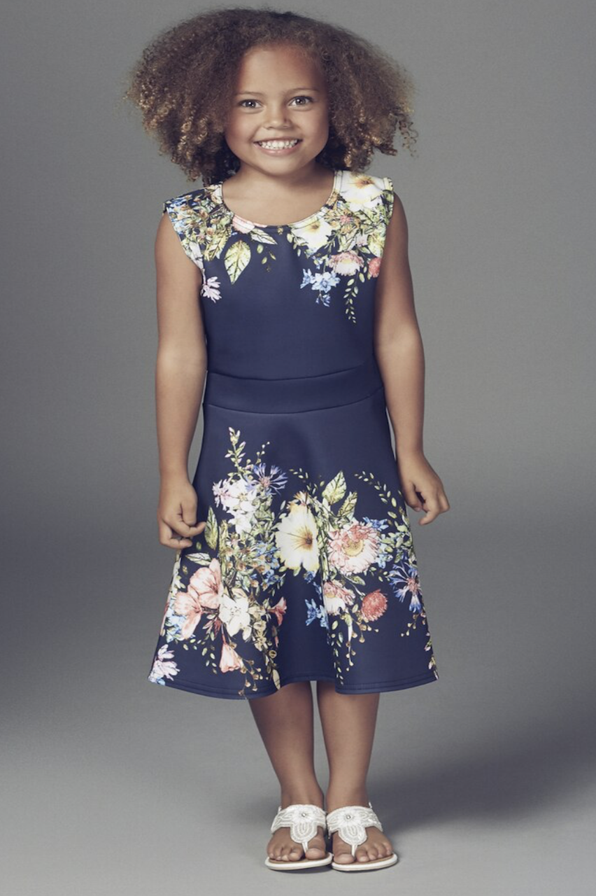 Children's Navy Ophelia Floral Skater Dres
