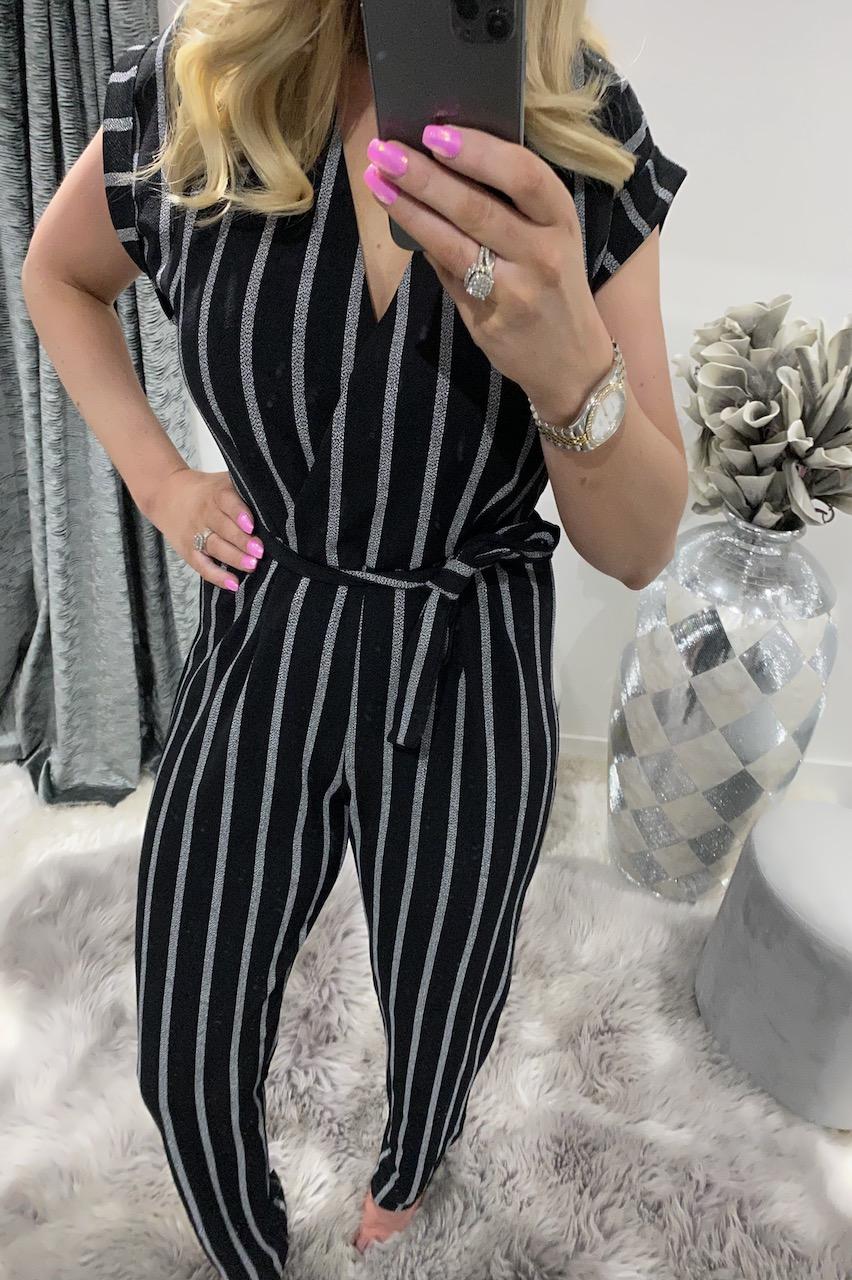 Black Mara Stripe Jumpsuit