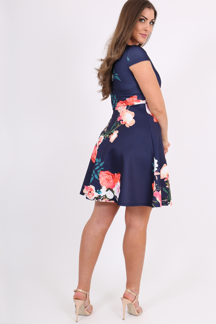 Navy Bella Floral Skater Dress