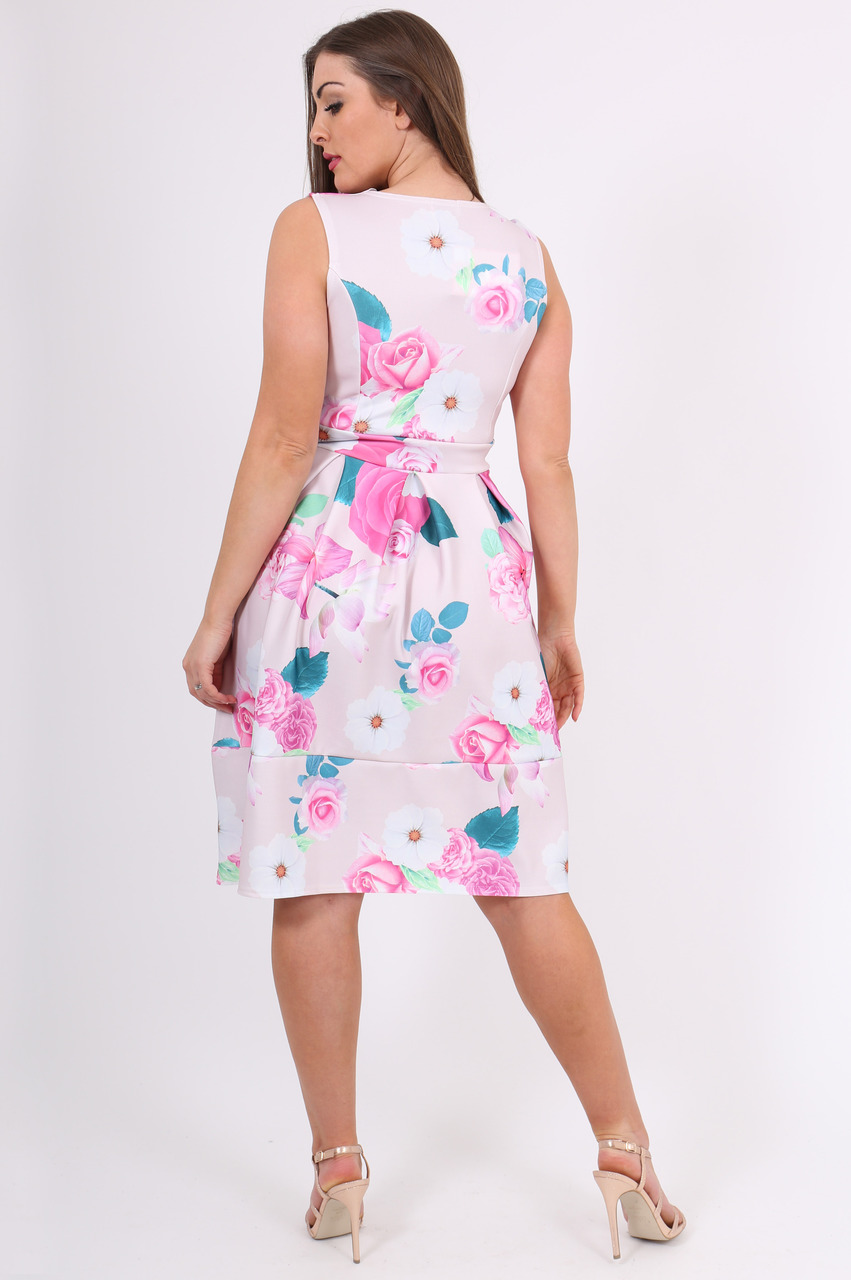 Pink Rue Floral  Scallop Skater Dress