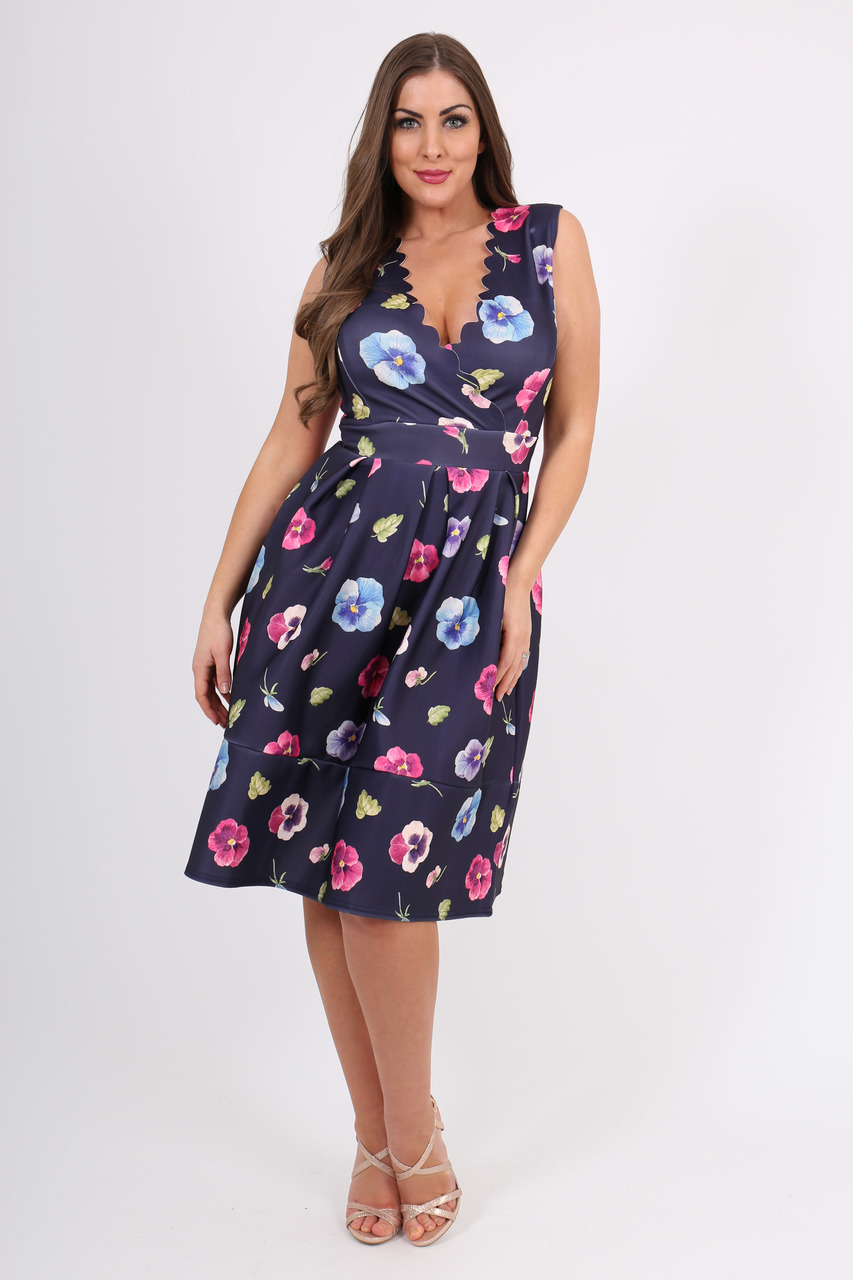 Navy Letizia Floral Scallop Skater Dress